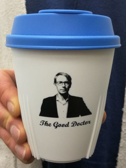 Dr Ashley Bloomfield Memorabilia Cup - White with Blue Lid