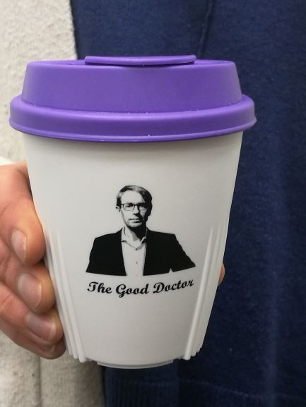 Dr Ashley Bloomfield Memorabilia Cup - White with Purple Lid